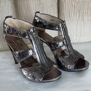 """Michael Kors 4"""" metallic/mirrored Heels"""